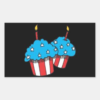第4 7月のカップケーキの 長方形シール