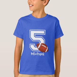 第5名前入りな2誕生日の男の子のフットボール Tシャツ