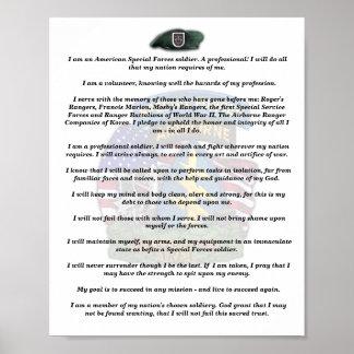第5特殊部隊のグループの退役軍人の獣医の信条のプリント ポスター
