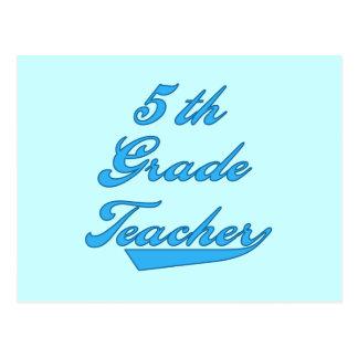 第5等級の先生の青い文字のTシャツおよびギフト ポストカード