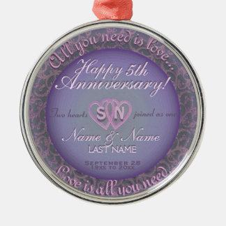 第5結婚記念日 メタルオーナメント
