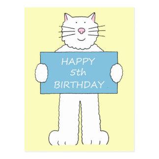 第5誕生日は、柔らかく白い猫の保有物参加します ポストカード