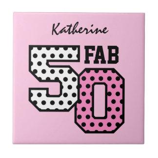 第50すてきな誕生日のピンクの水玉模様Z01 タイル