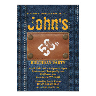 第50の誕生会の人、招待状のデニムのスタイル カード