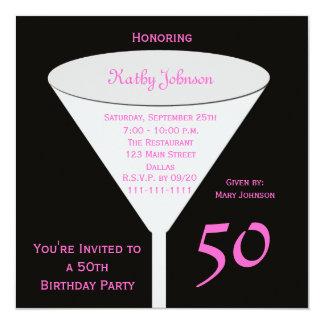 第50ピンクの誕生日のパーティの招待状50 13.3 スクエアインビテーションカード
