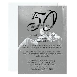 第50写真の結婚記念日の招待状 12.7 X 17.8 インビテーションカード