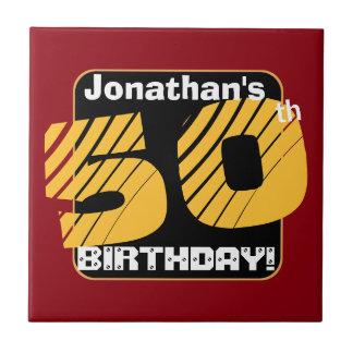 第50名前をカスタムするのストライプのな数A11を用いる誕生日 タイル