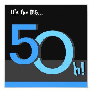 第50大きい5Oh! 誕生日のパーティの招待状-青 カード