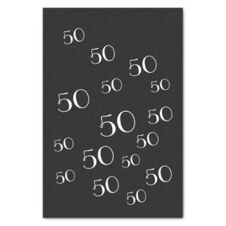 第50白黒誕生日のティッシュペーパー 薄葉紙