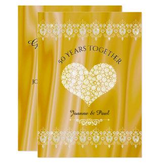第50結婚記念日のお祝いの金ゴールドのダイヤモンド カード