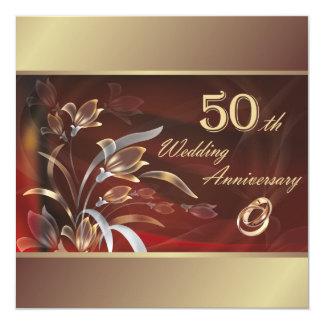 第50結婚記念日のパーティの招待状 13.3 スクエアインビテーションカード