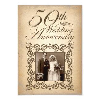 第50結婚記念日のヴィンテージの招待 12.7 X 17.8 インビテーションカード