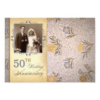 第50結婚記念日の写真のヴィンテージの招待 12.7 X 17.8 インビテーションカード