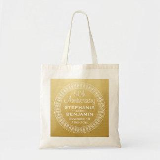 第50結婚記念日の名前入りな金ゴールド トートバッグ