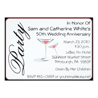 第50結婚記念日の招待状のカクテル 12.7 X 17.8 インビテーションカード