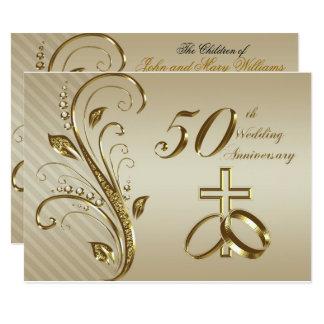 第50結婚記念日の招待状カード 14 X 19.1 インビテーションカード