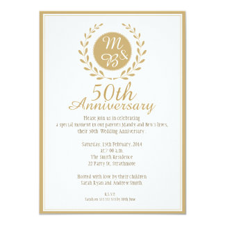 第50結婚記念日の招待状 11.4 X 15.9 インビテーションカード