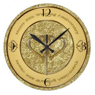 第50結婚記念日の時計 ラージ壁時計