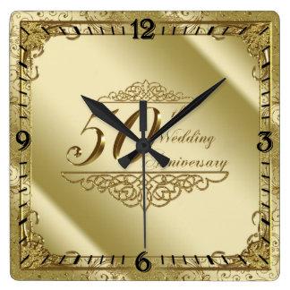 第50結婚記念日の柱時計 スクエア壁時計