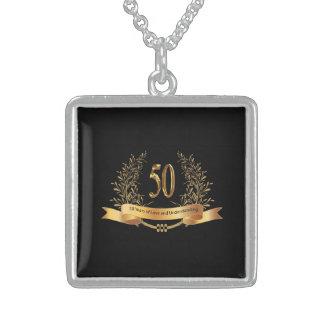 第50結婚記念日の純銀製のネックレス スターリングシルバーネックレス