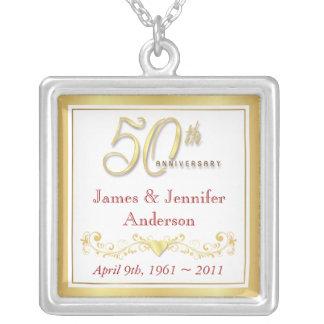 第50結婚記念日の記念するペンダント シルバープレートネックレス