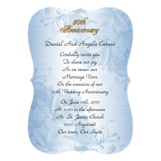 第50結婚記念日の誓約の更新の青のサテン 12.7 X 17.8 インビテーションカード