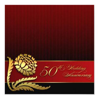 第50結婚記念日の赤い金招待状 13.3 スクエアインビテーションカード