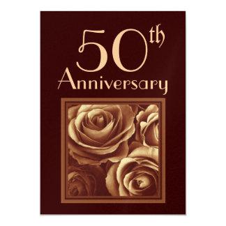 第50結婚記念日の金ゴールドのバラ カード