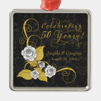 第50結婚記念日の金ゴールドの白黒のバラ メタルオーナメント
