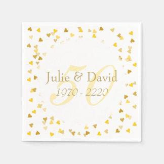 第50結婚記念日の金ハートの紙吹雪 スタンダードカクテルナプキン