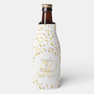 第50結婚記念日の金ハートの紙吹雪 ボトルクーラー
