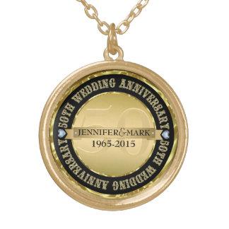第50結婚記念日の金属金ゴールド及び黒2 ゴールドプレートネックレス
