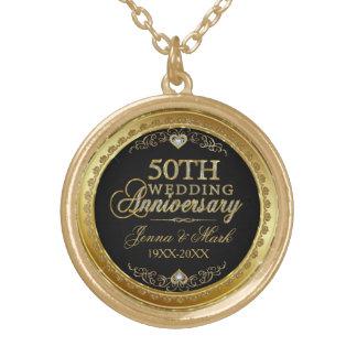 第50結婚記念日の黒の金ゴールド及びダイヤモンド ゴールドプレートネックレス