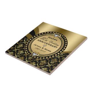 第50結婚記念日の黒及び金ゴールドのダマスク織 タイル