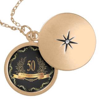 第50結婚記念日のGlodの終わりの円形のロケット ゴールドプレートネックレス