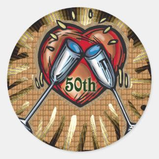 第50結婚記念日5の正方形 ラウンドシール