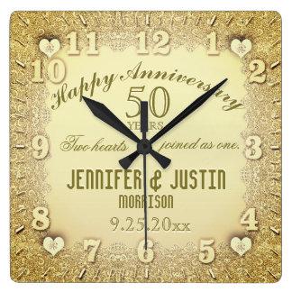 第50結婚記念日 スクエア壁時計