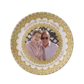 第50結婚記念日-華美な写真の金ゴールドを加えて下さい 磁器プレート