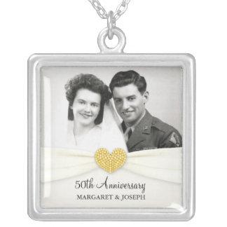 第50記念日のお祝いの結婚式の写真のペンダント シルバープレートネックレス