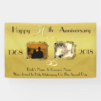 第50記念日のアイディアを結婚する金ゴールド 横断幕
