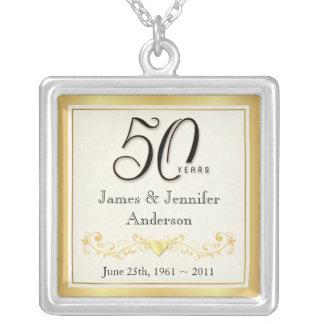 第50記念日のエレガントな記念するペンダント シルバープレートネックレス