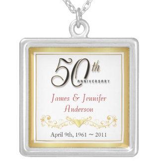 第50記念日のエレガントな記念品のペンダント シルバープレートネックレス