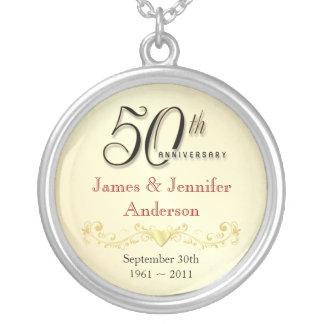 第50記念日のネックレスのエレガントな記念品のペンダント シルバープレートネックレス
