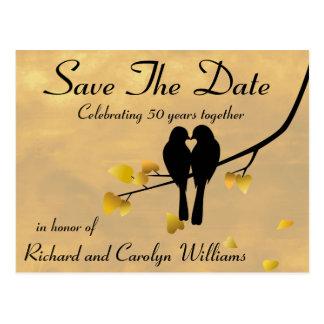 第50記念日の仲の良い恋人同士は日付を救います ポストカード