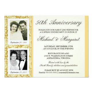 第50記念日の招待状-そして及び今写真 カード