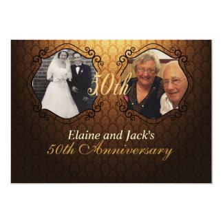 第50記念日の結婚式の写真の招待状 カード