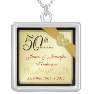 第50記念日の記念するペンダント シルバープレートネックレス