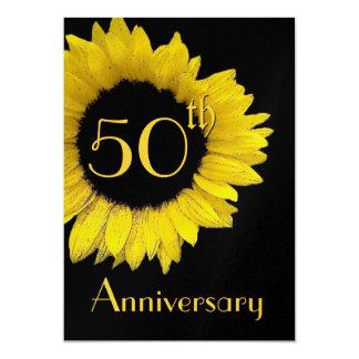 第50記念日の金ゴールドのヒマワリの金属紙 カード