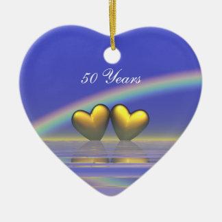 第50記念日の金ハート セラミックオーナメント