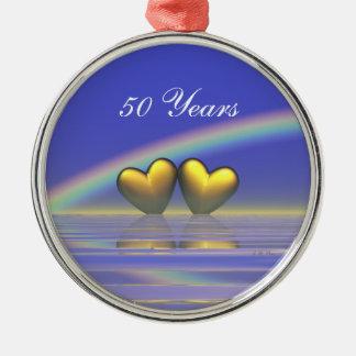 第50記念日の金ハート メタルオーナメント